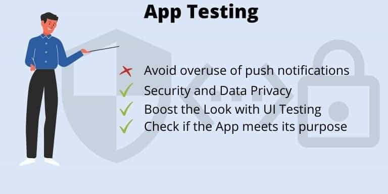 Seventh step to develop an app is to Test your Developed App